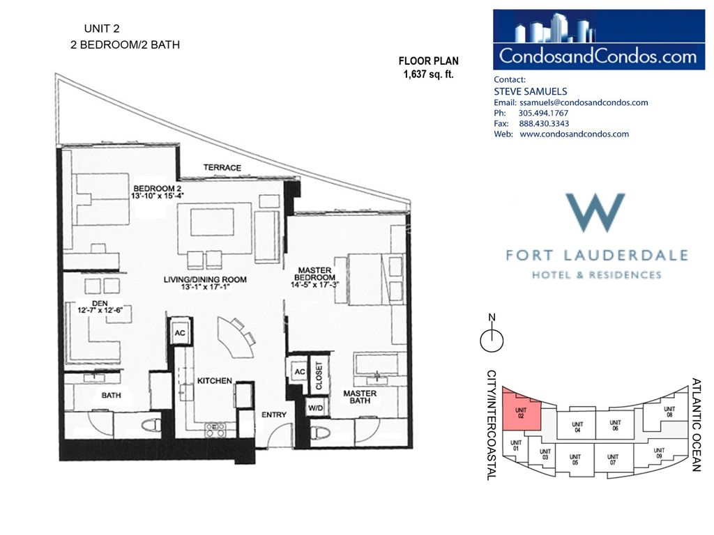 W Residences Ft Lauderdale - Unit #2 with 1637 SF