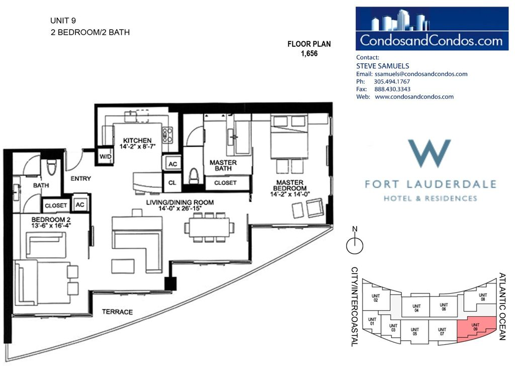 W Residences Ft Lauderdale - Unit #9 with 1656 SF