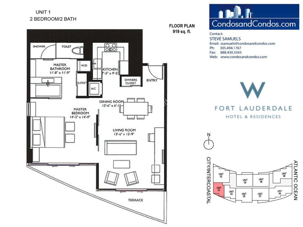 W Residences Ft Lauderdale - Unit #1 with 919 SF