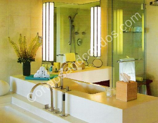 Master baths include designer stone vanity, shower, tub, walls and floors