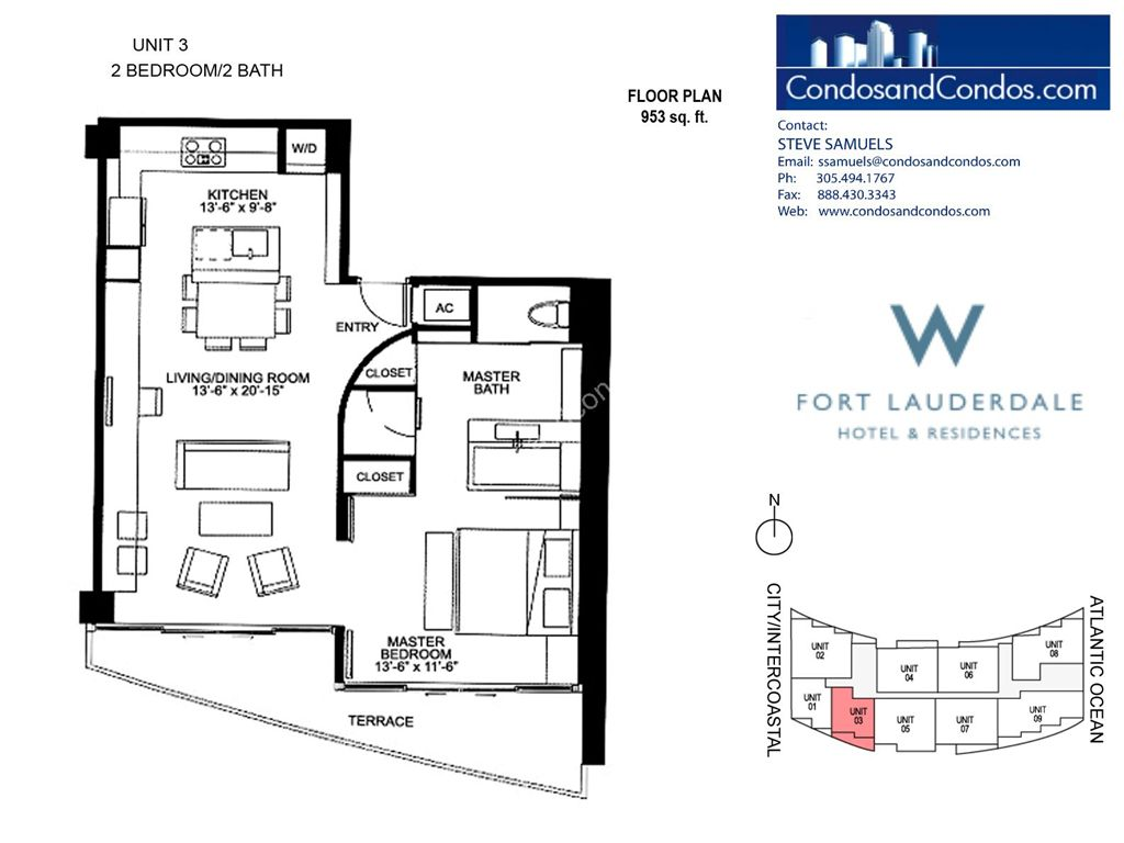 W Residences Ft Lauderdale - Unit #3 with 953 SF
