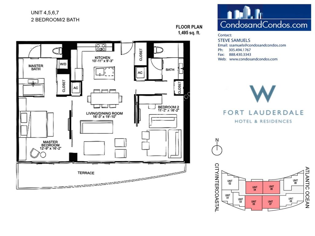 W Residences Ft Lauderdale - Unit #7 with 1495 SF