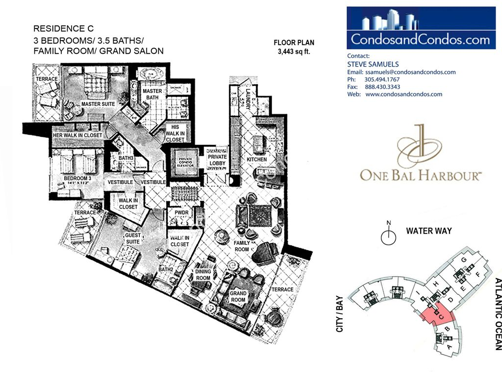 One Bal Harbour - Unit #C with 3443 SF