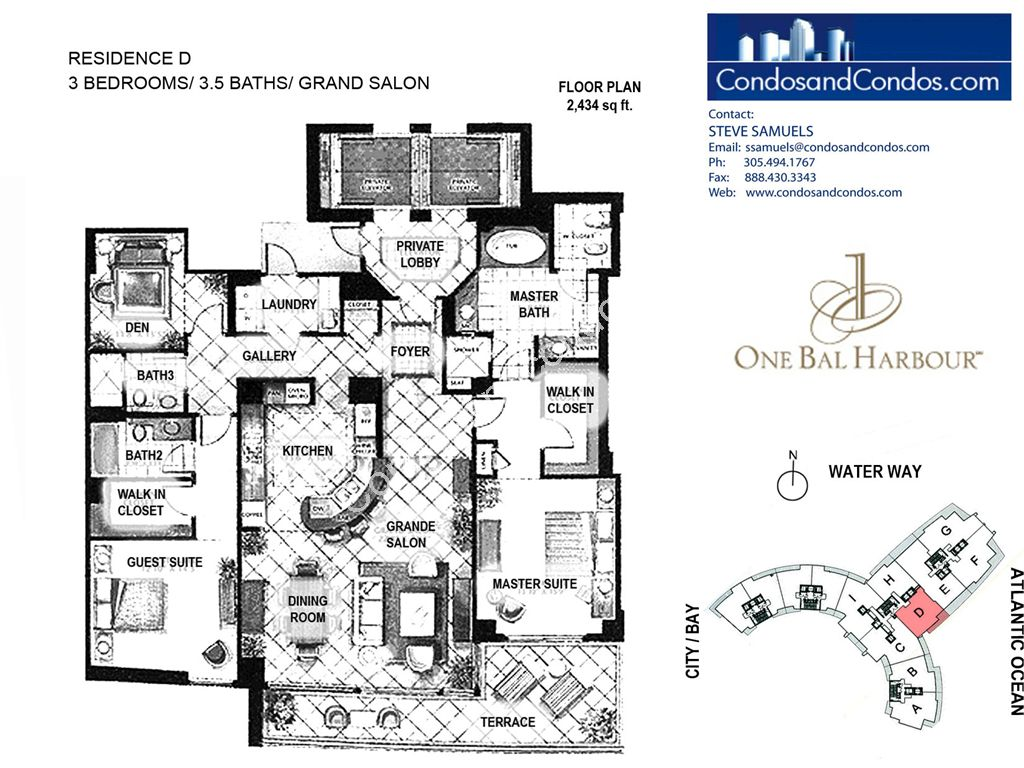 One Bal Harbour - Unit #D with 2434 SF