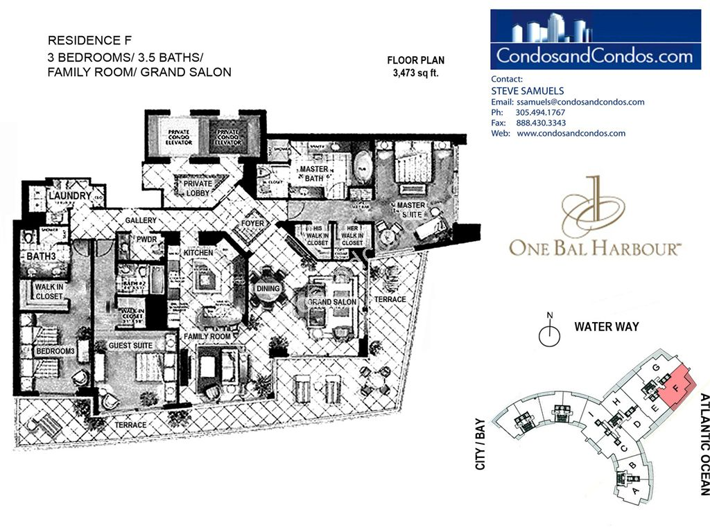 One Bal Harbour - Unit #F with 3473 SF