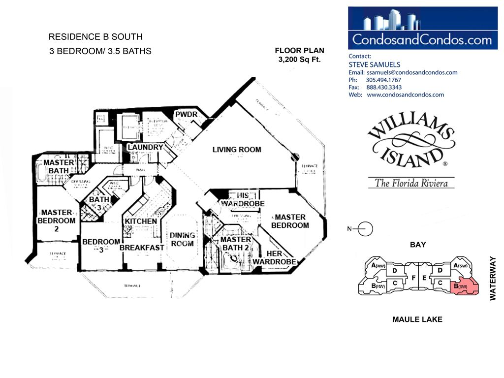 Williams Island 2600 - Residence du Cap - Unit #B South with 3200 SF