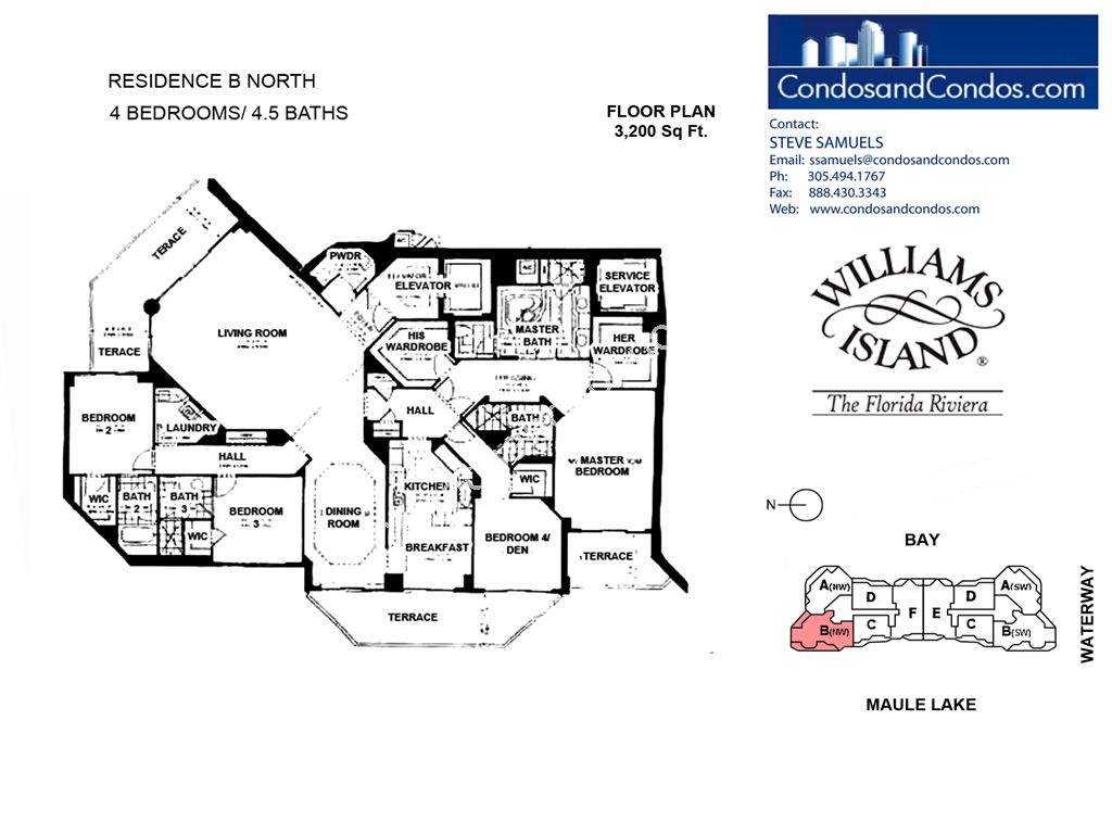 Williams Island 2600 - Residence du Cap - Unit #B North with 3200 SF