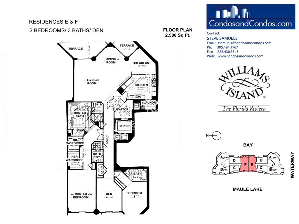 Williams Island 2600 - Residence du Cap - Unit #E and F with 2580 SF