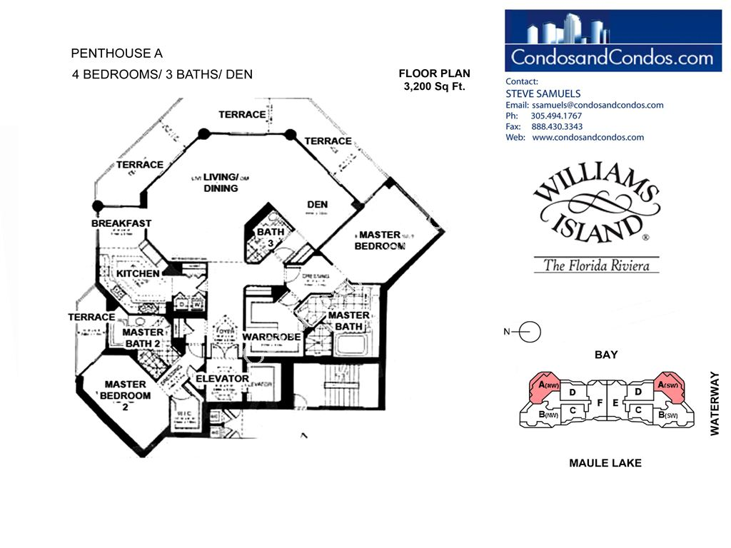 Williams Island 2600 - Residence du Cap - Unit #A with 3200 SF