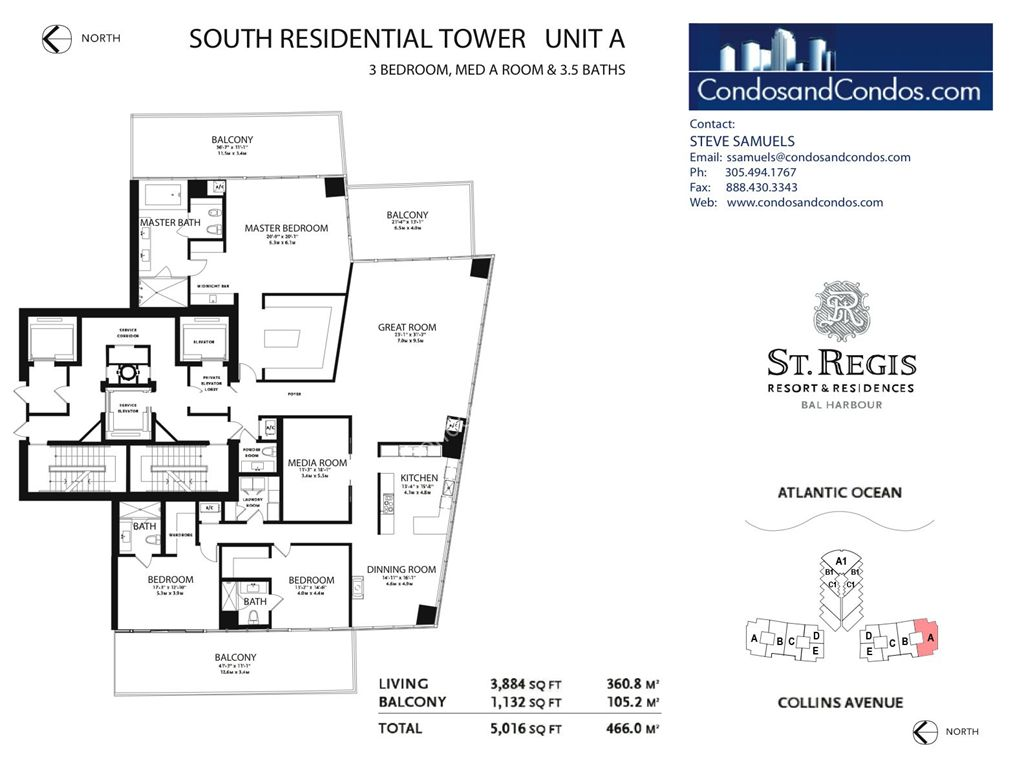 St. Regis Bal Harbour - Unit #E North with 2232 SF