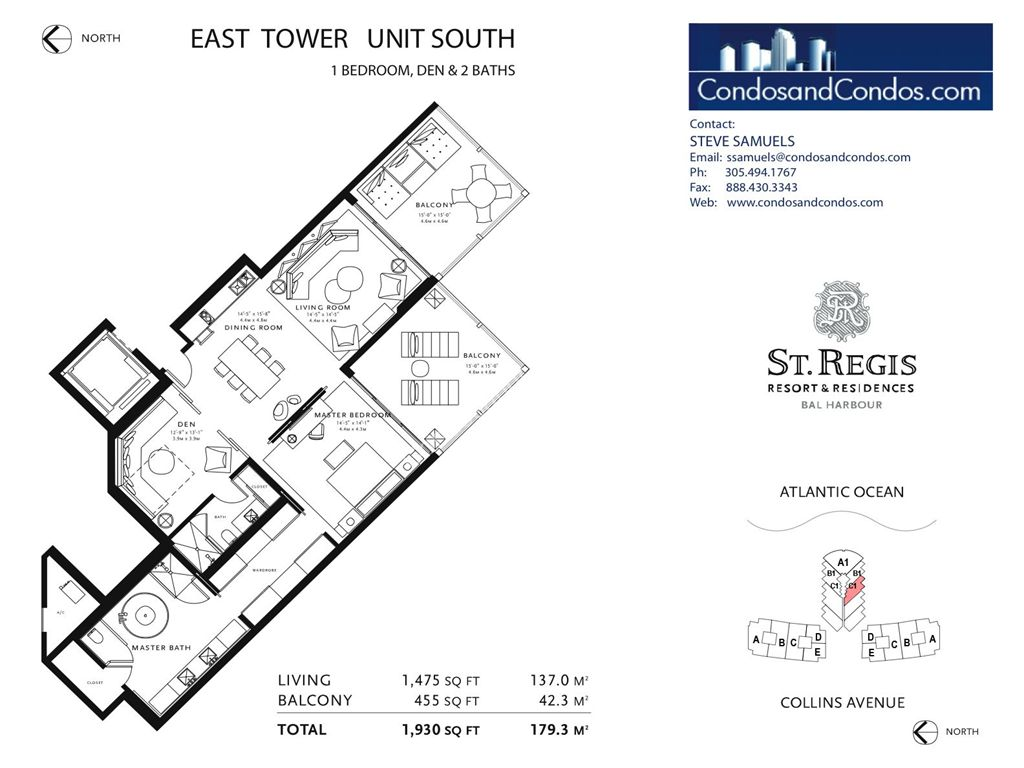 St. Regis Bal Harbour - Unit #S2 South with 1765 SF