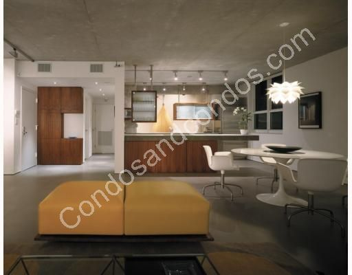 Contemporary living/dining area and kitchen