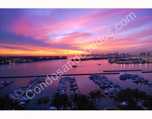 Biscayne Bay reflects a magnificent pink and blue sunset