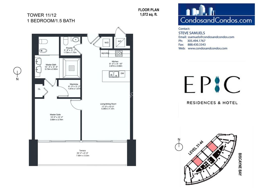 Epic Residences - Unit #Tower(31-44) 11/12 with 1072 SF