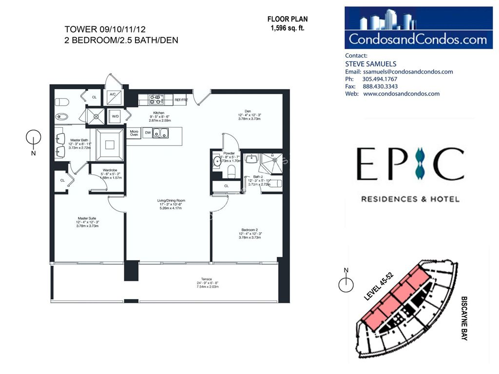 Epic Residences - Unit #Penthouse (45-52) 09/10/11/12 with 1596 SF
