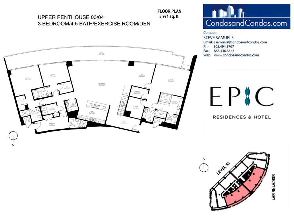 Epic Residences - Unit #Upper Penthouse (53) 03/04 with 3971 SF