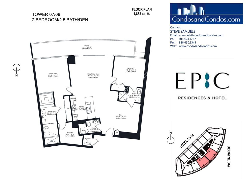 Epic Residences - Unit #Tower(31-44) 07/08 with 1888 SF