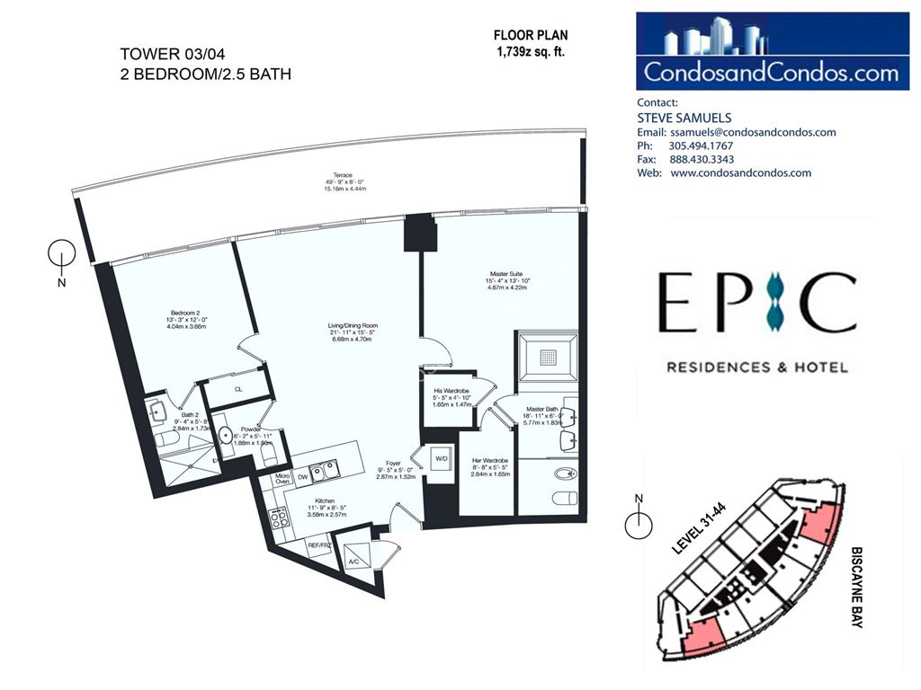 Epic Residences - Unit #Tower(31-44) 03/04 with 1739 SF