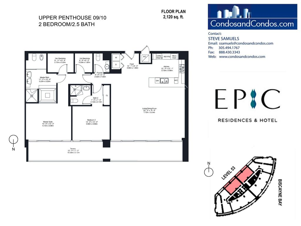Epic Residences - Unit #Upper Penthouse (53) 09/10 with 2120 SF