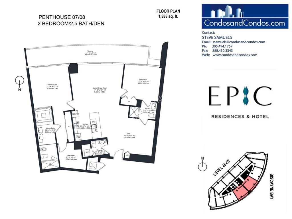Epic Residences - Unit #Penthouse (45-52) 07/08 with 1888 SF