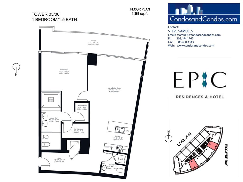 Epic Residences - Unit #Tower(31-44) 05/06 with 1368 SF