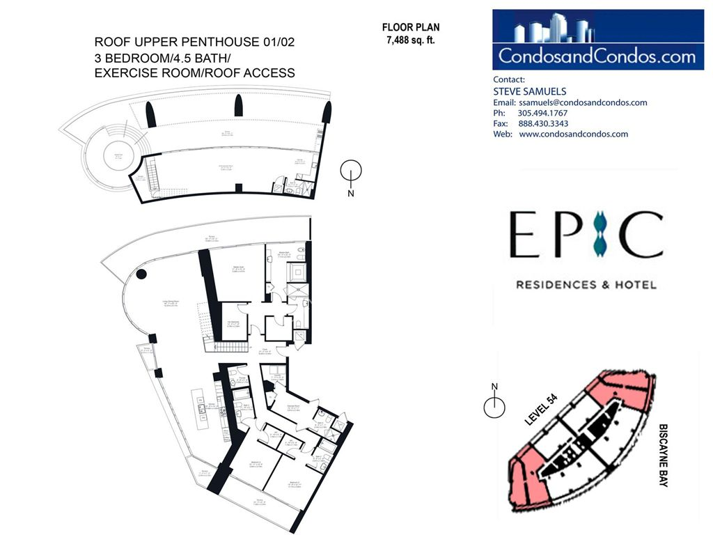 Epic Residences - Unit #Roof Upper Penthouse(54) 01/02 with 7488 SF
