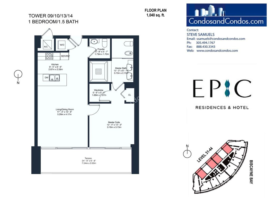 Epic Residences - Unit #Tower(31-44) 09/10/13/14 with 1040 SF