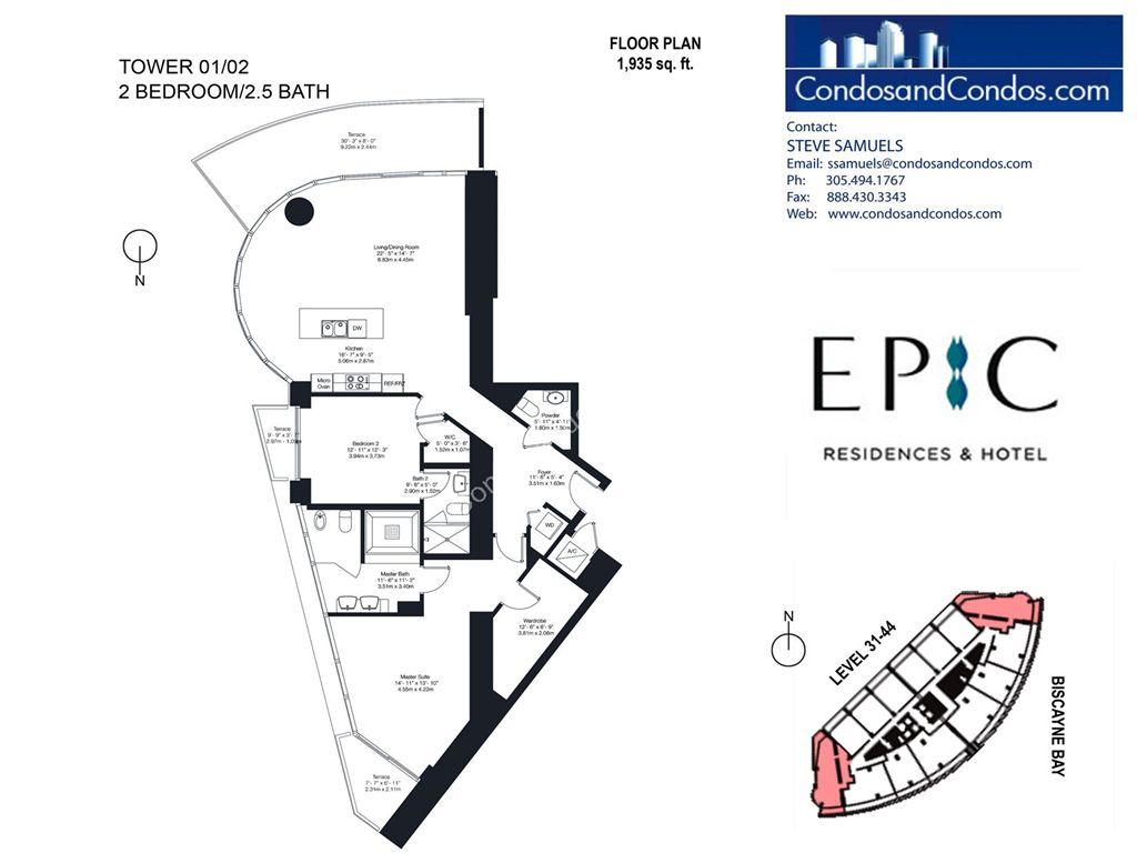 Epic Residences - Unit #Tower(31-44) 01/02 with 1935 SF
