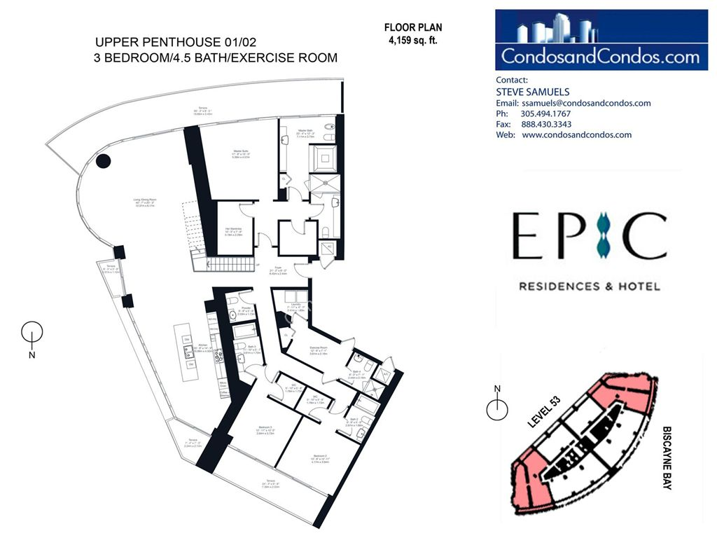 Epic Residences - Unit #Upper Penthouse (53) 01/02 with 4159 SF