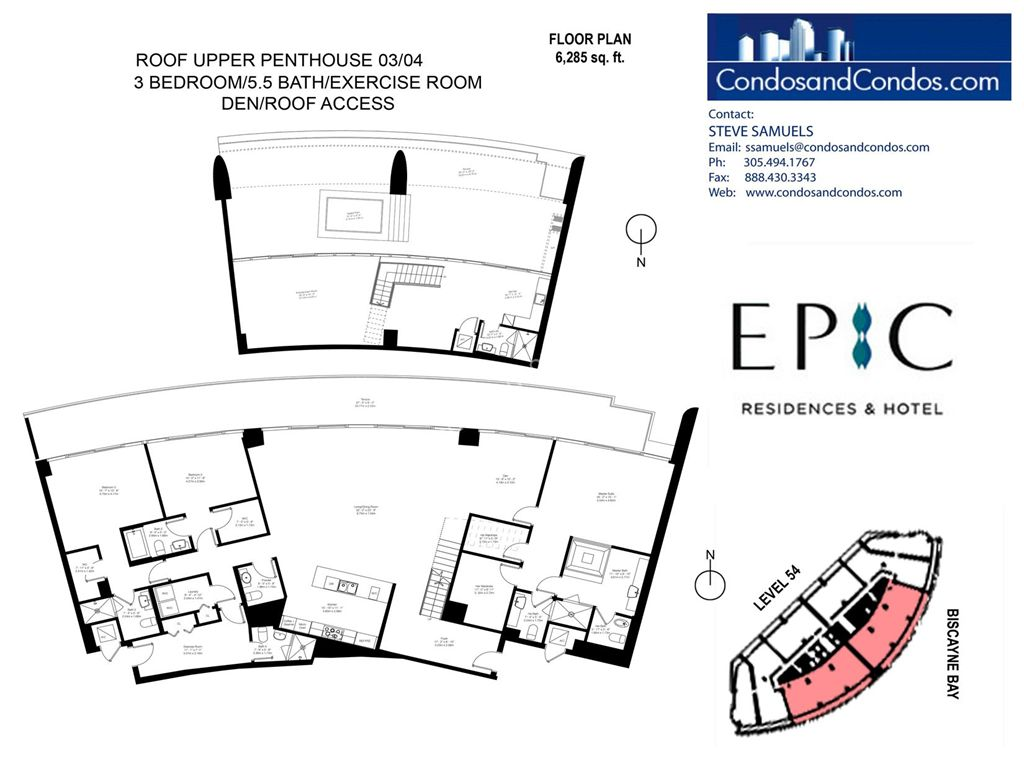 Epic Residences - Unit #Roof Upper Penthouse(54) 03/04 with 6285 SF