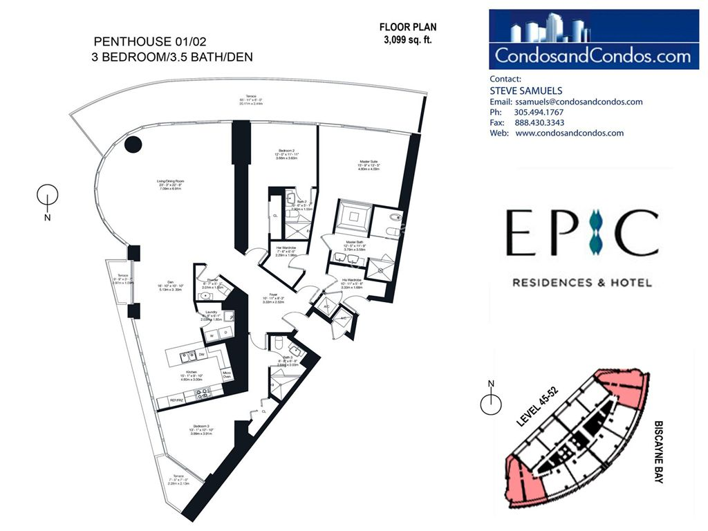 Epic Residences - Unit #Penthouse (45-52) 01/02 with 3099 SF