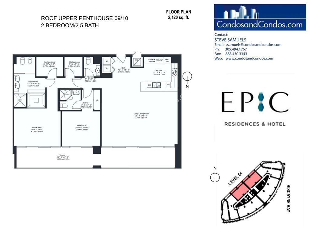 Epic Residences - Unit #Roof Upper Penthouse(54) 09/10 with 2120 SF