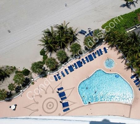 Aerial view of heated ocean-front pool