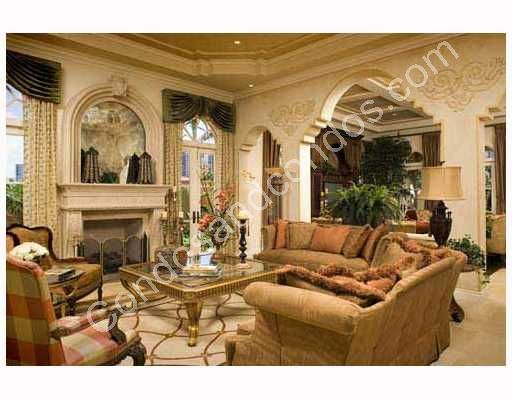 Grand fire place and opulent archways in gathering room