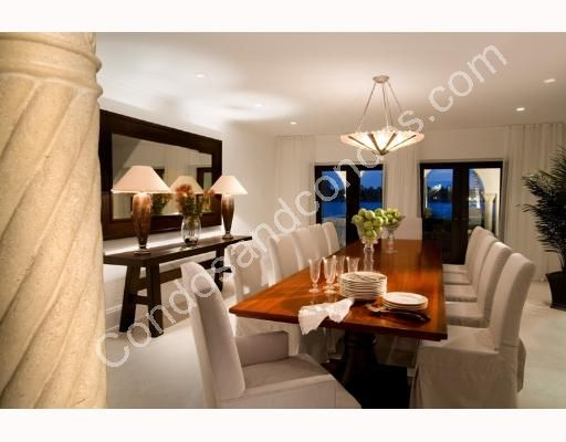 Large dining room with buffet table and bay view
