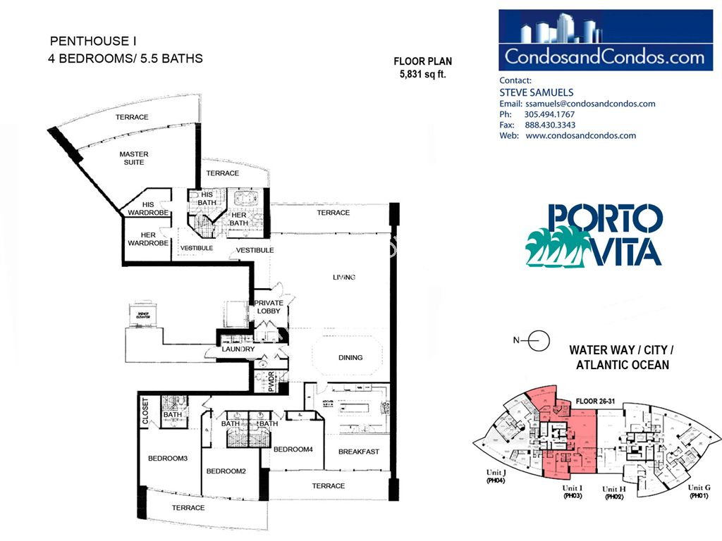 Porto Vita South - Unit #I with 5831 SF