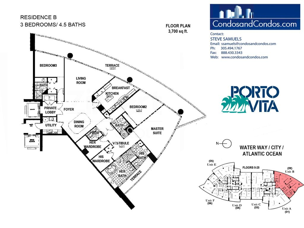 Porto Vita South - Unit #B with 3700 SF
