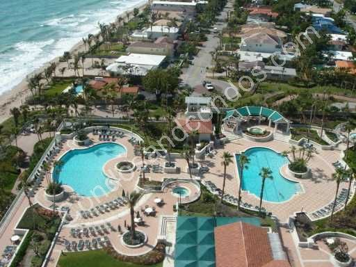 Ariel view of L'Hermitage pools and Ft. Lauderdale Beach