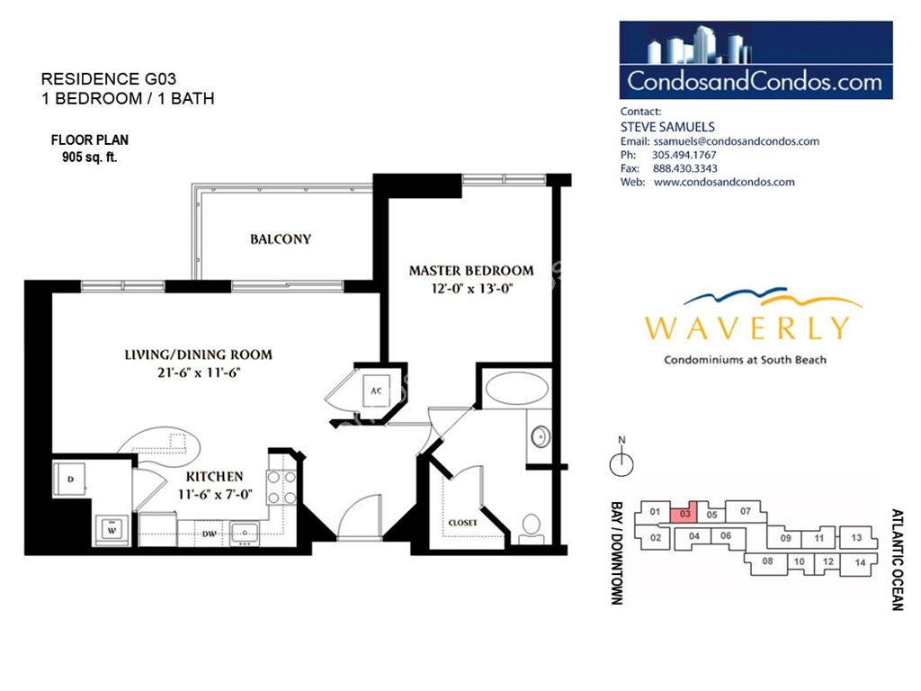 Waverly - Unit #03 with 905 SF