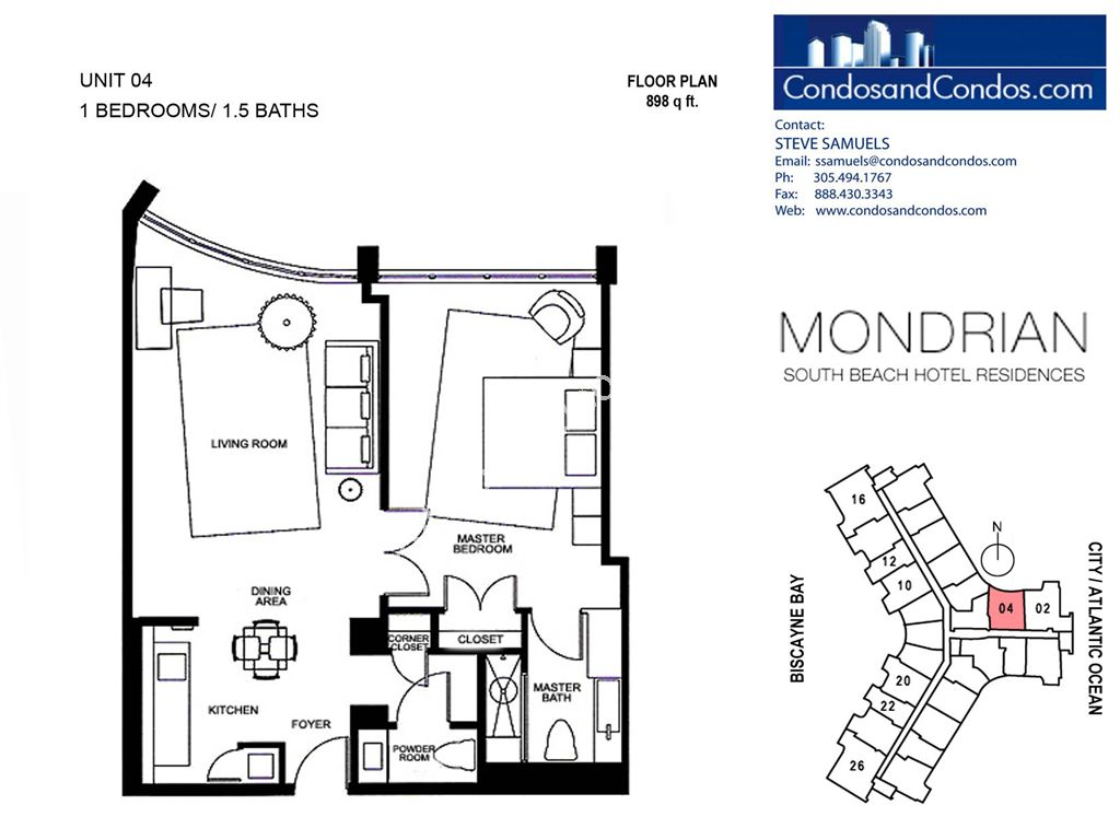 Mondrian South Beach - Unit #04 with 898 SF