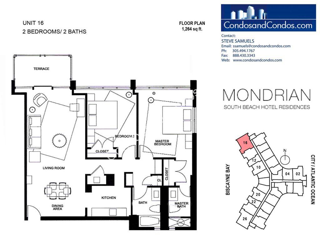 Mondrian South Beach - Unit #16 with 1264 SF