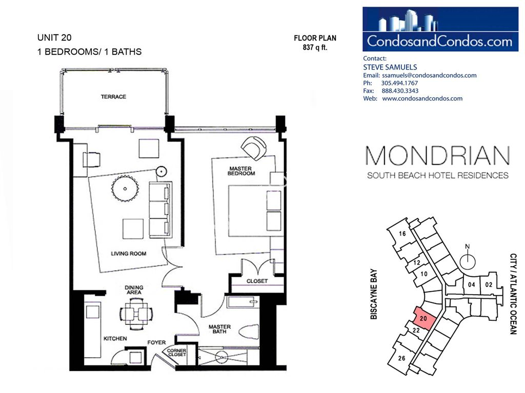 Mondrian South Beach - Unit #20 with 837 SF