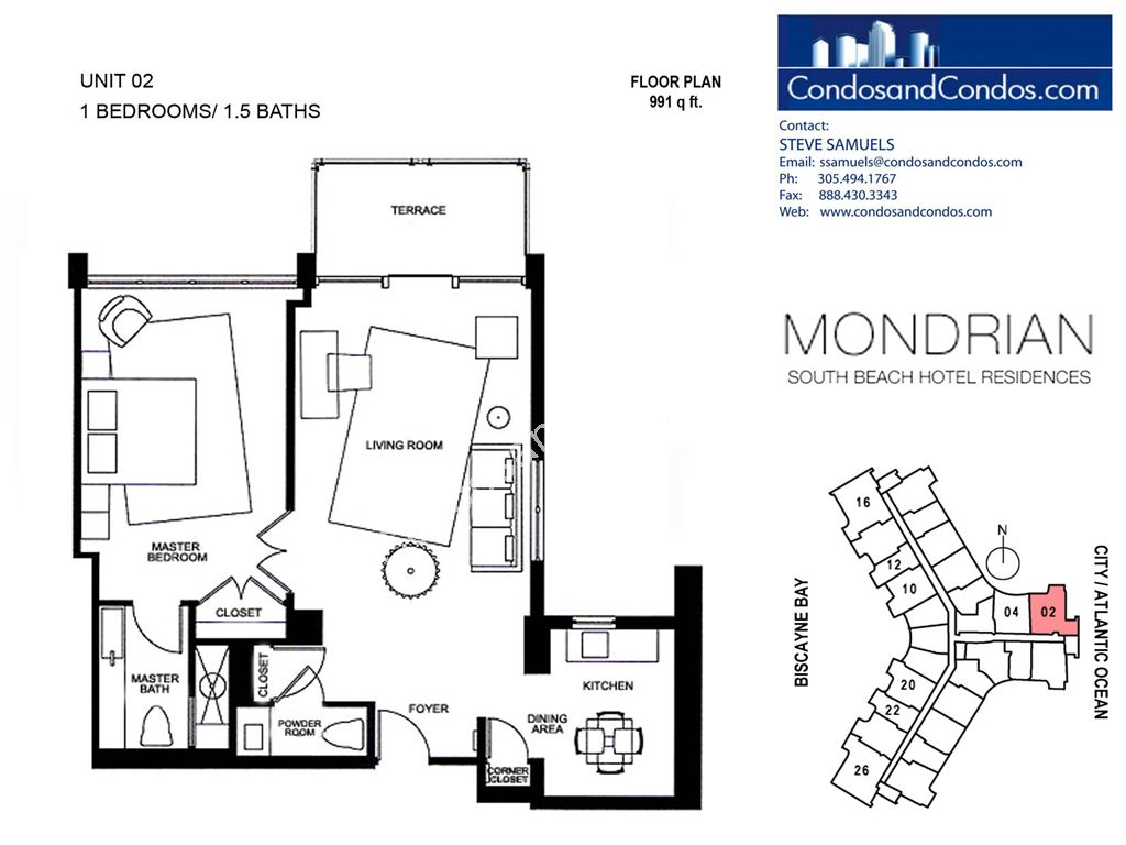Mondrian South Beach - Unit #02 with 991 SF