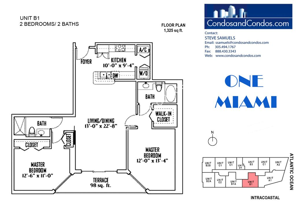 One Miami West - Unit #B1 with 1325 SF
