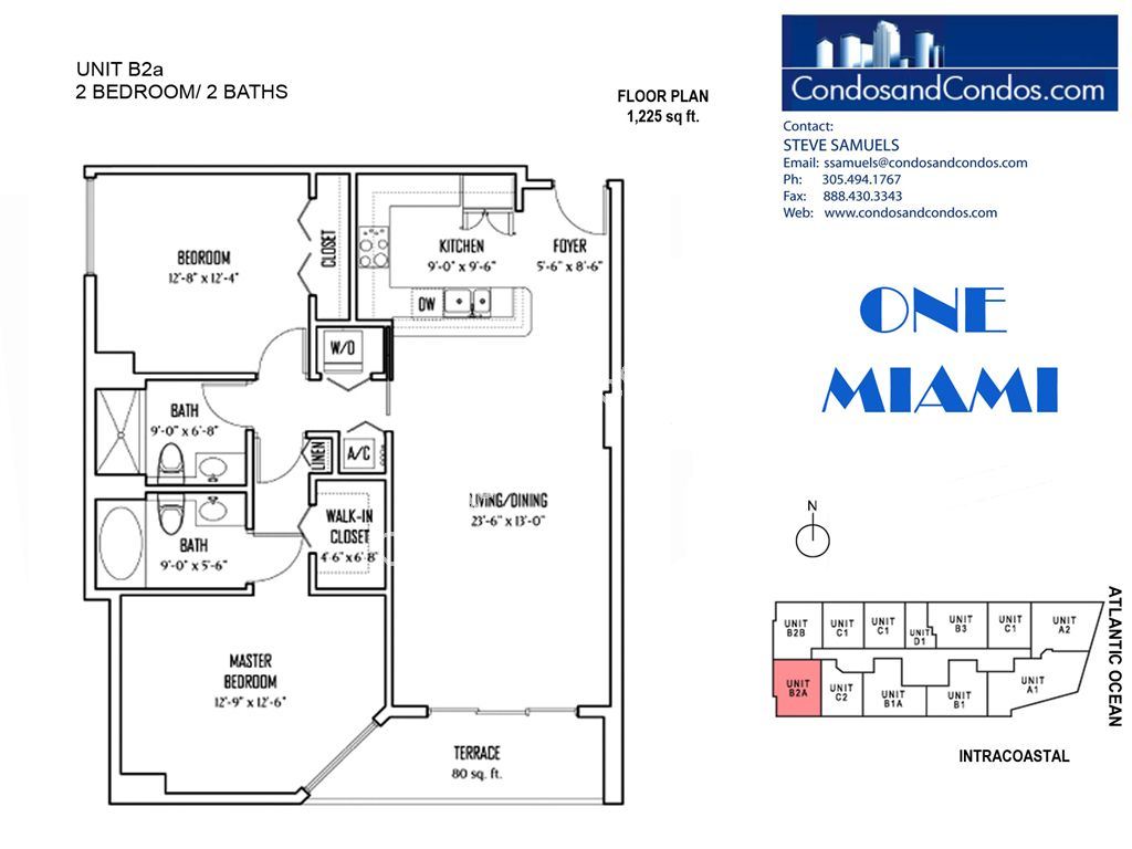 One Miami West - Unit #B2a with 1225 SF