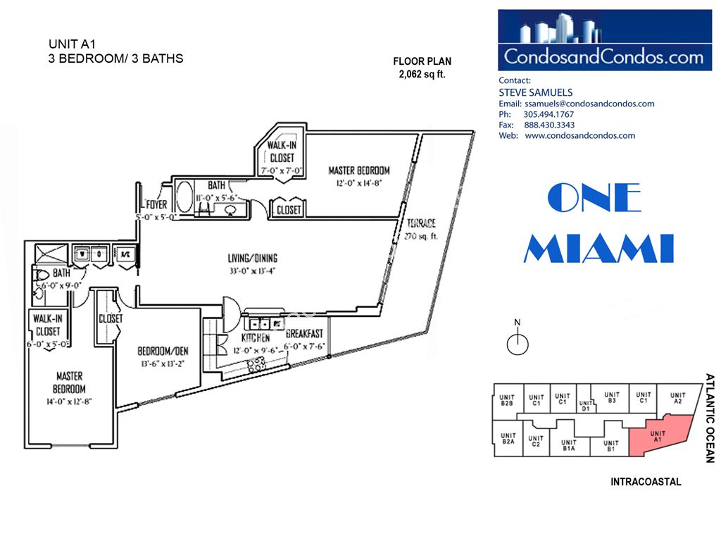 One Miami West - Unit #A1 with 2062 SF