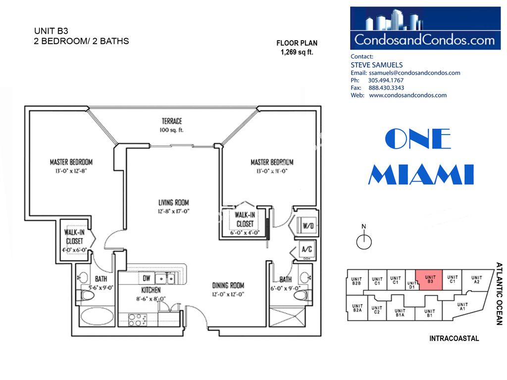 One Miami West - Unit #B3 with 1269 SF
