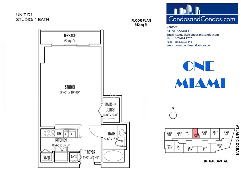 One Miami West - Unit #D1 with 552 SF