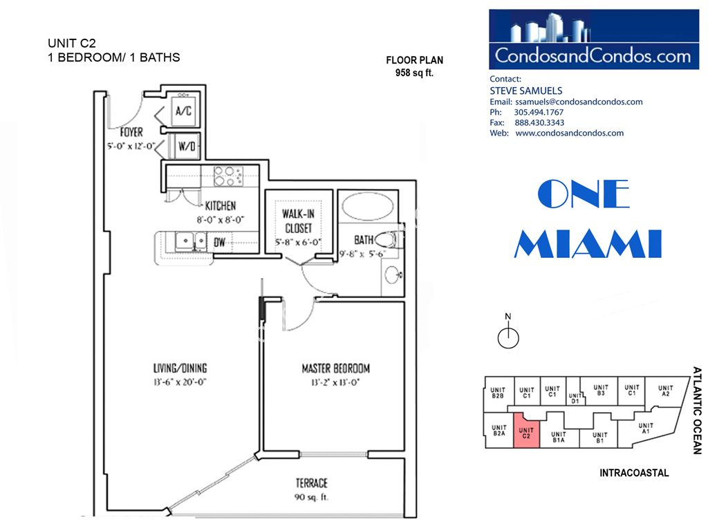 One Miami West - Unit #C2 with 958 SF