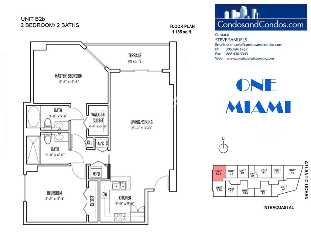One Miami West - Unit #B2b with 1185 SF